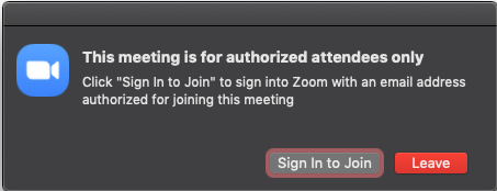 Locked Meeting message