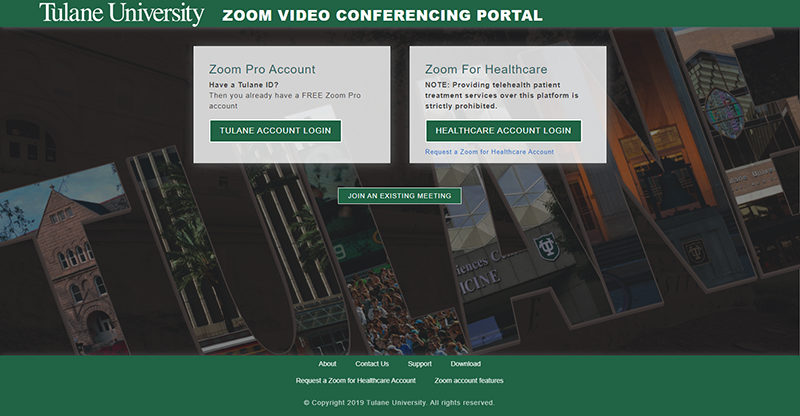 Screenshot of Zoom Portal homepage